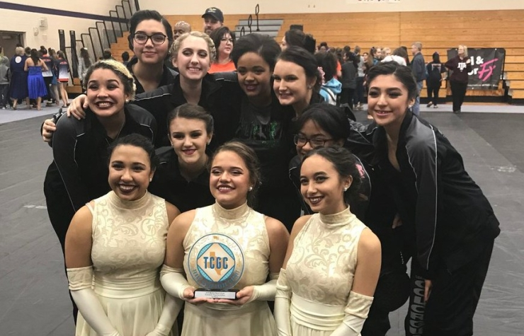 Clear Falls High School Winter Guard with their TCGC Award 2018